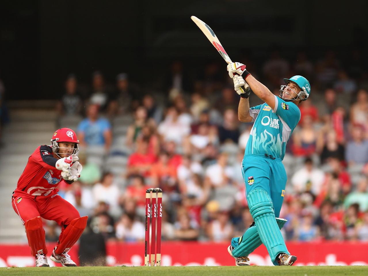 MELBOURNE, AUSTRALIA - JANUARY 15:  Luke Pomersbach of the Heat bats during the Big Bash League Semi-Final match between the Melbourne Renegades and the Brisbane Heat at Etihad Stadium on January 15, 2013 in Melbourne, Australia.  (Photo by Robert Cianflone/Getty Images)