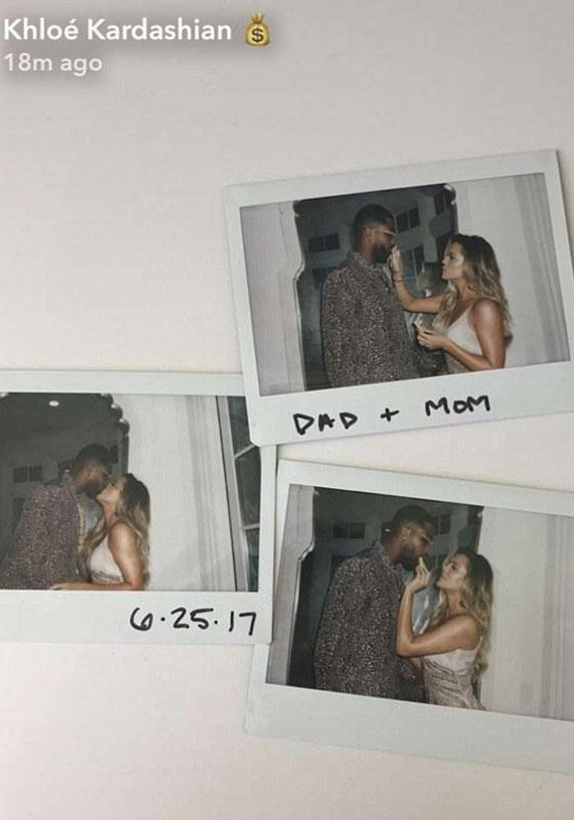 Khloe sent social media users into a spin when she posted a photo of her and boyf Tristan captioned 'Dad + Mom.' Source: Snapchat