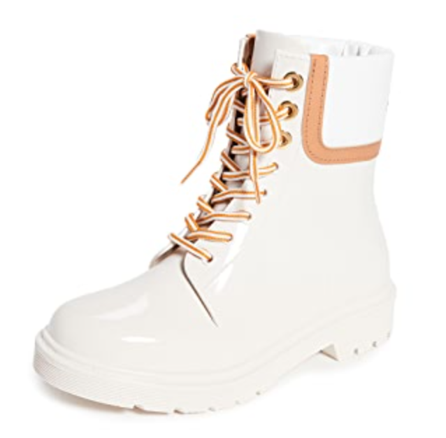 See by Chloé Florrie Lace Up Rain Boots in Natural