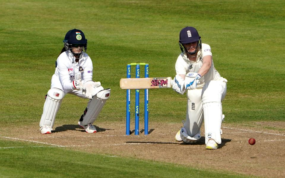 England's Heather Knight in action during day one of the Women's International Test match at the Bristol County Ground. Picture date: Wednesday June 16, 2021. PA Photo. See PA story CRICKET England Women. Photo credit should read: Zac Goodwin/PA Wire. RESTRICTIONS: Editorial use only. No commercial use without prior written consent of the ECB. Still image use only. No moving images to emulate broadcast. No removing or obscuring of sponsor logos - PA