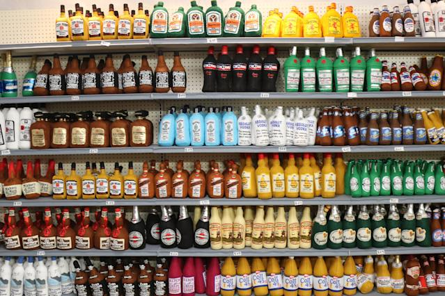 By the entrance of the Sparrow Mart, you'll see handmade felt liquor bottles on the shelves. (Photo: Angela Kim/Yahoo Lifestyle)