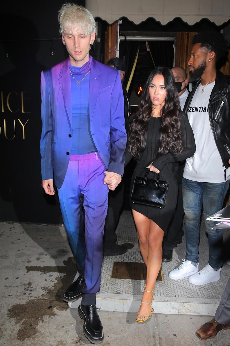 <p>Megan Fox and Machine Gun Kelly were seen holding hands and leaving The Nice Guy in West Hollywood, California.</p>