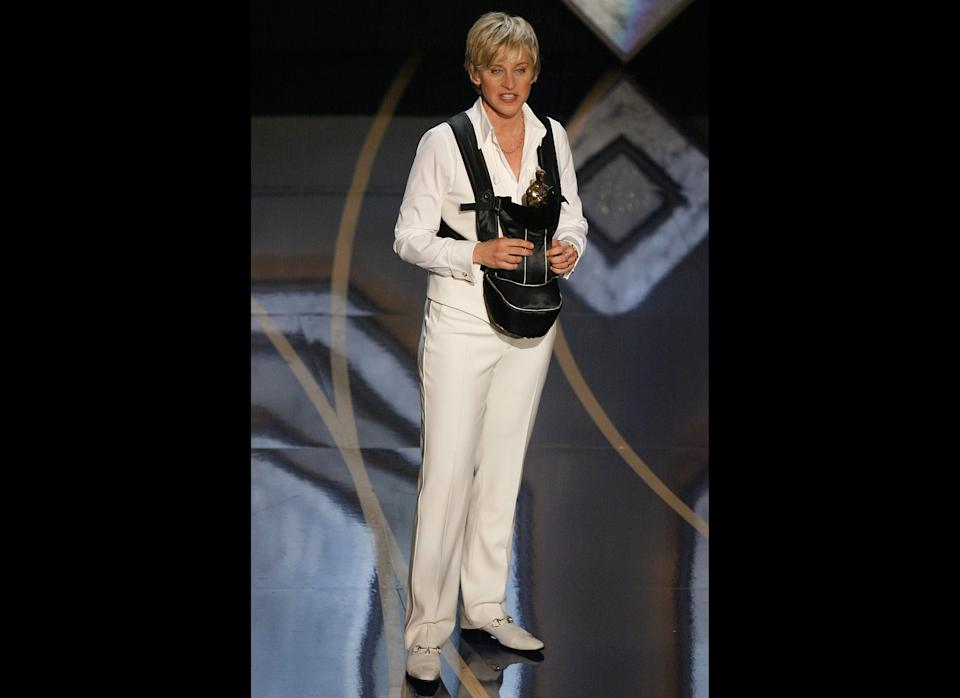 Pregnant? No -- that's just Ellen's Oscar baby at the 2007 Academy Awards.