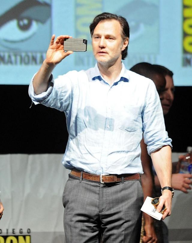 "David Morrissey speaks onstage at AMC's ""The Walking Dead"" panel during Comic-Con International 2013 at San Diego Convention Center on July 19, 2013 in San Diego, California."