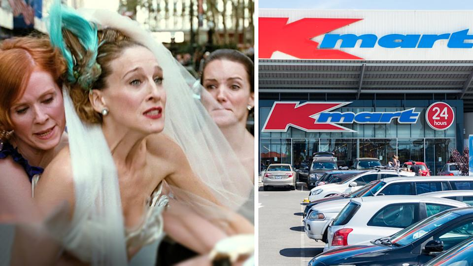 angry bride movie scene and kmart store front