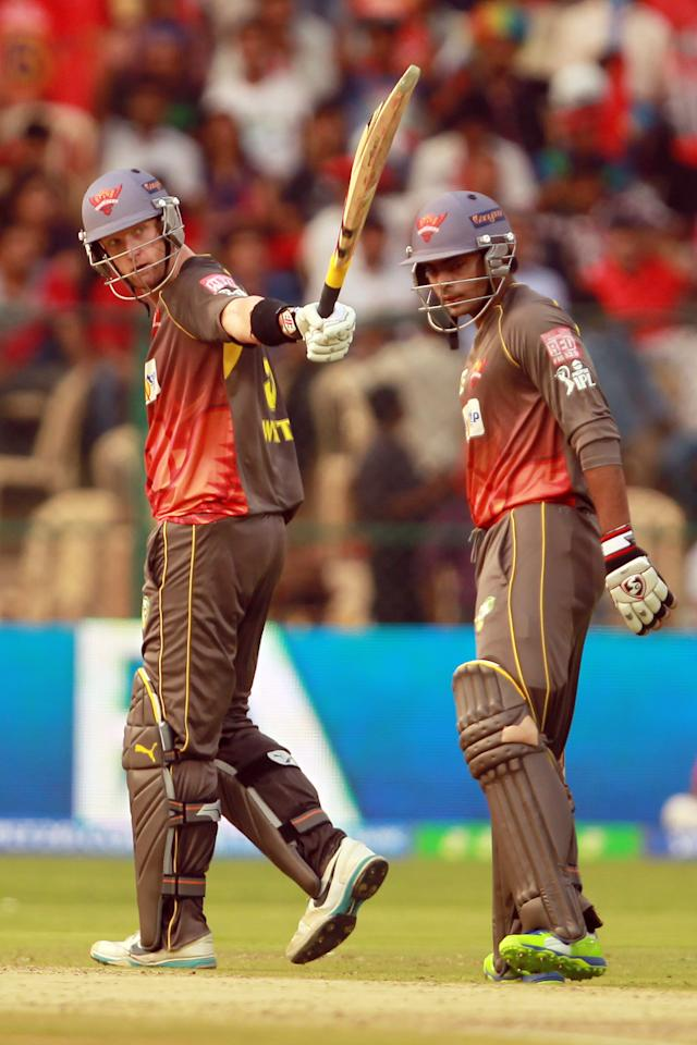 Cameron White celebrates his half century during match 9 of the Pepsi Indian Premier League between The Royal Challengers Bangalore and The Sunrisers Hyderabad held at the M. Chinnaswamy Stadium, Bengaluru on the 9th April 2013. (BCCI)