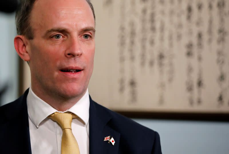 FILE PHOTO: British Foreign Secretary Dominic Raab talks during an interview with Reuters at British Embassy in Tokyo, Japan