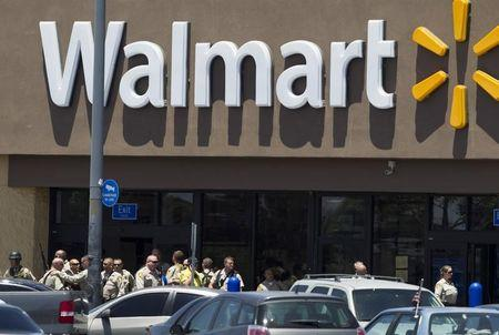 Metro Police officers are shown outside a Walmart after a shooting in Las Vegas