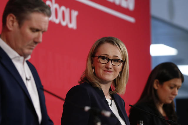 Rebecca Long-Bailey, centre, finished second behind Sir Keir Starmer, left, in this year's Labour leadership contest. (Hollie Adams/Getty Images)