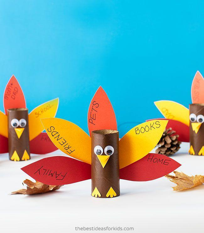 """<p>This turkey puts your kid's heart on display: On each feather, they can write down something they're grateful for (like you!).</p><p><em><a href=""""https://www.thebestideasforkids.com/toilet-paper-roll-turkey/"""" rel=""""nofollow noopener"""" target=""""_blank"""" data-ylk=""""slk:Get the tutorial at The Best Ideas for Kids »"""" class=""""link rapid-noclick-resp"""">Get the tutorial at The Best Ideas for Kids »</a></em><br></p>"""