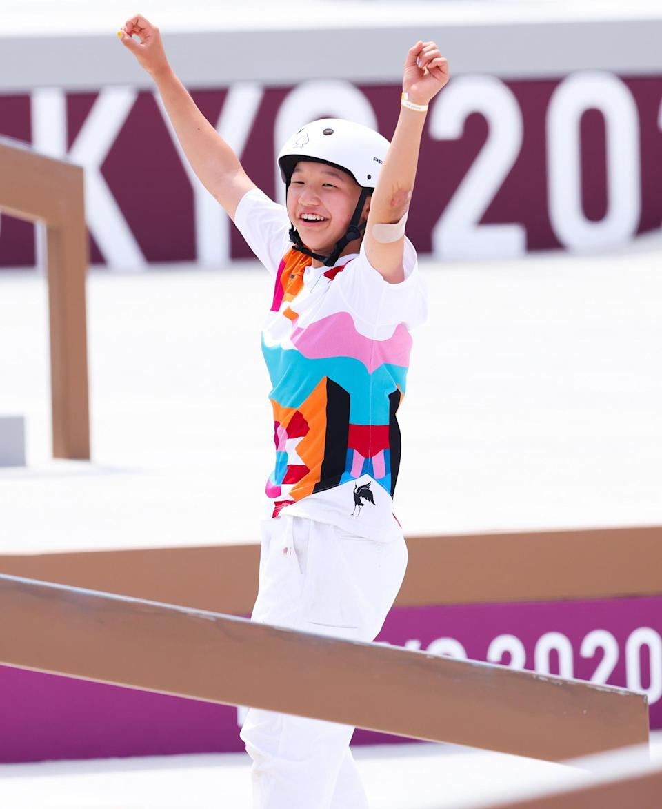 <p>Momiji Nishiya wins the first-ever women's skateboarding gold medal and becomes one of the youngest Olympians ever — at just 13 — at Ariake Urban Sports Park on July 26.</p>