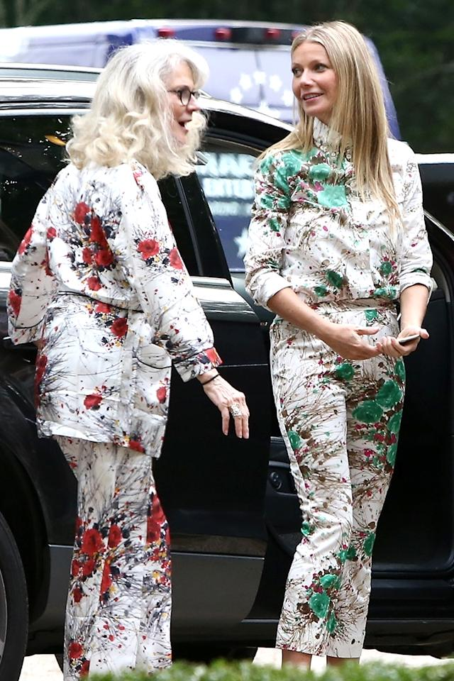 <p>Paltrow brought her entire family, including her actress mom, along for the Summer Soirée event at the Goop MRKT pop-up in the Hamptons. The two even wore matching Prada pantsuits for the occasion. (Photo: MiamiPIXX/BACKGRID) </p>