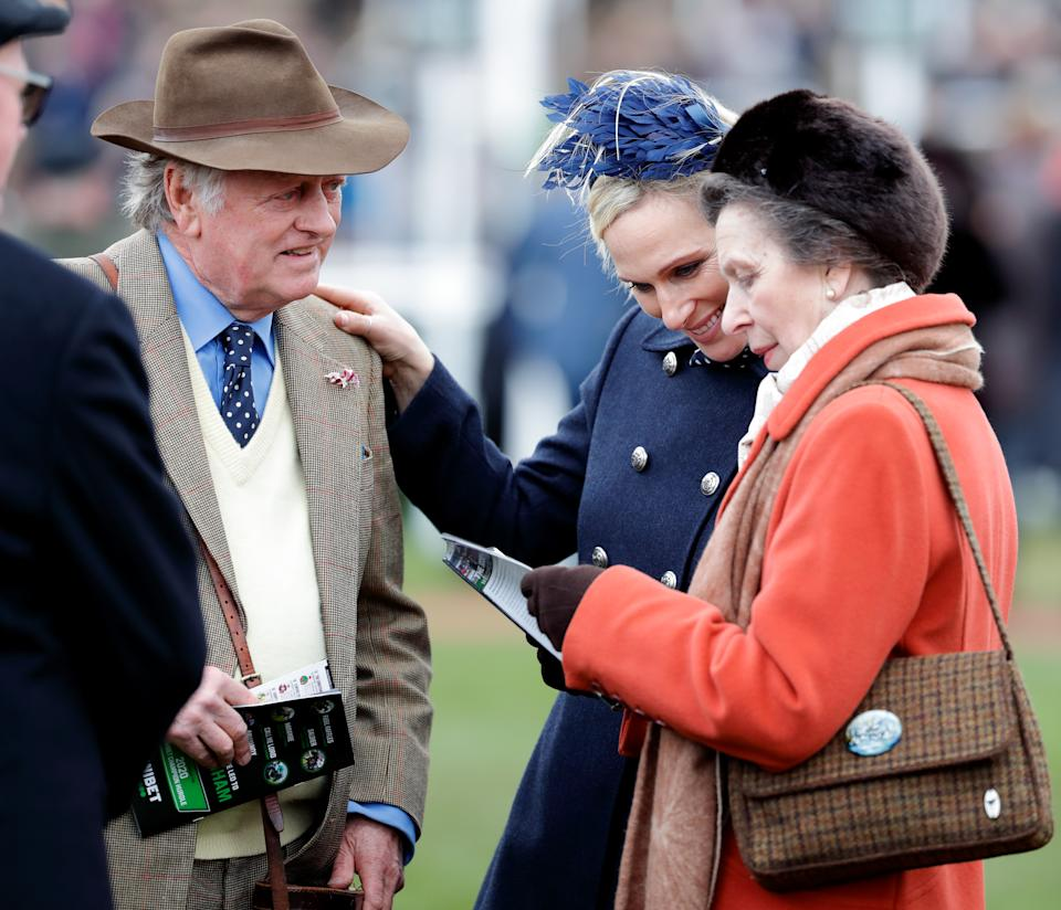 CHELTENHAM, UNITED KINGDOM - MARCH 10: (EMBARGOED FOR PUBLICATION IN UK NEWSPAPERS UNTIL 24 HOURS AFTER CREATE DATE AND TIME) Andrew Parker Bowles, Zara Tindall and Princess Anne, Princess Royal attend day 1 'Champion Day' of the Cheltenham Festival 2020 at Cheltenham Racecourse on March 10, 2020 in Cheltenham, England. (Photo by Max Mumby/Indigo/Getty Images)