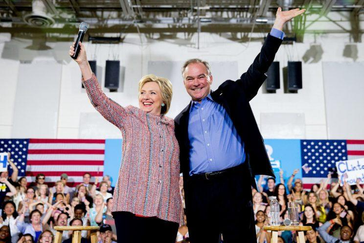 Hillary Clinton and Sen. Tim Kaine of Virginia at campaign rally in Annandale, Va., on July 14, 2016. (Photo: Saul Loeb/AFP/Getty Images)