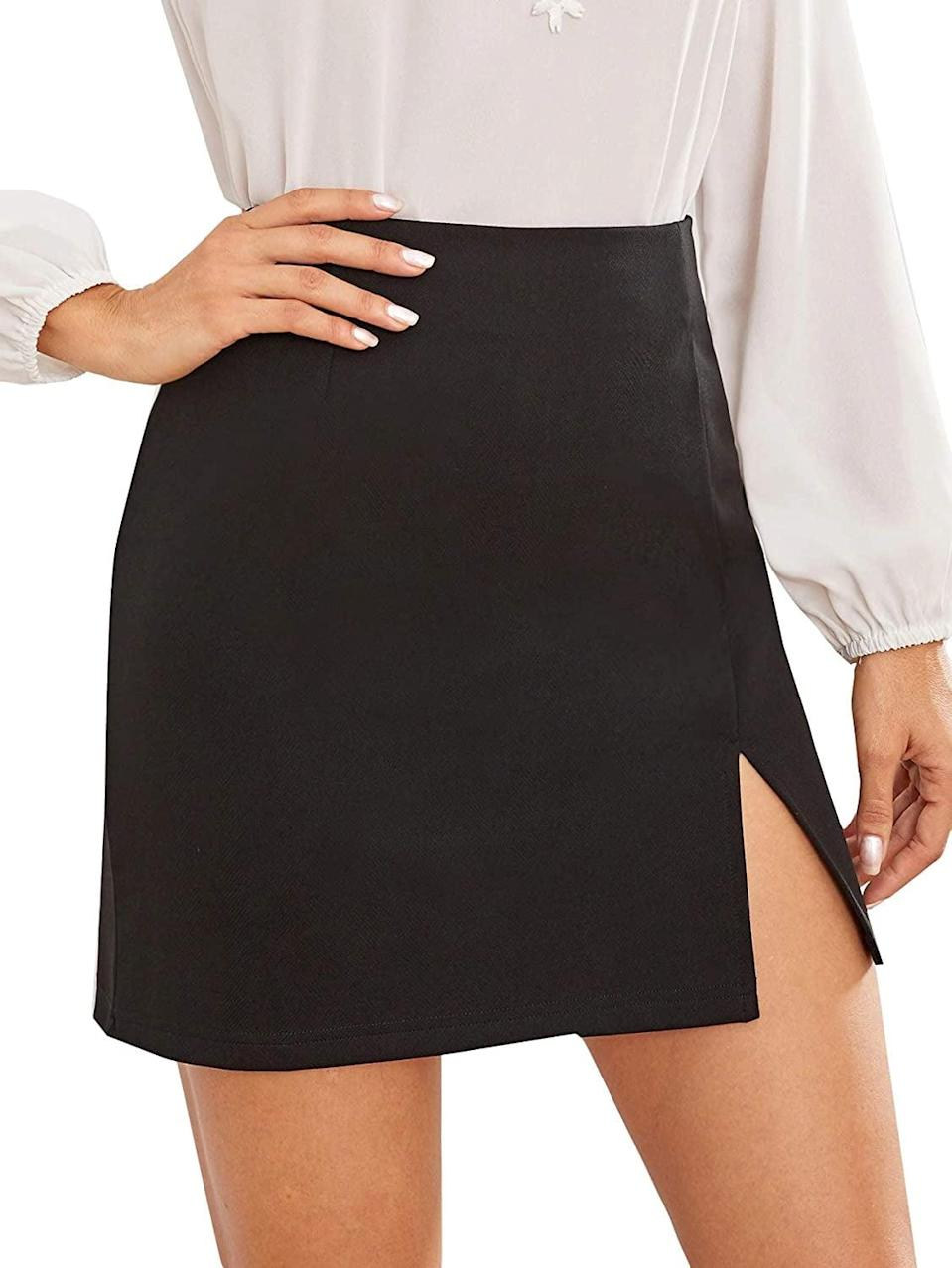 <p>If you're looking for something on the sexy side, then you can't go wrong with the <span>Summer Split Hem Zip Back Mini Skirt</span> ($10-$23).</p>