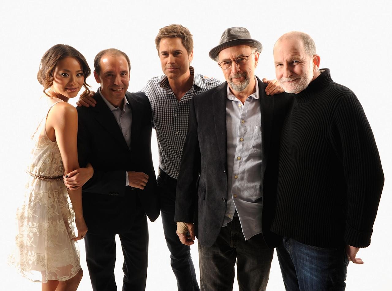 NEW YORK, NY - APRIL 25:  (L-R) Actress Jamie Chung, writer Chris Lehane, actor Rob Lowe, actor Richard Schiff and filmmaker Bill Guttentag of the film 'Knife Fight' visit the Tribeca Film Festival 2012 portrait studio at the Cadillac Tribeca Press Lounge on April 25, 2012 in New York City.  (Photo by Larry Busacca/Getty Images)
