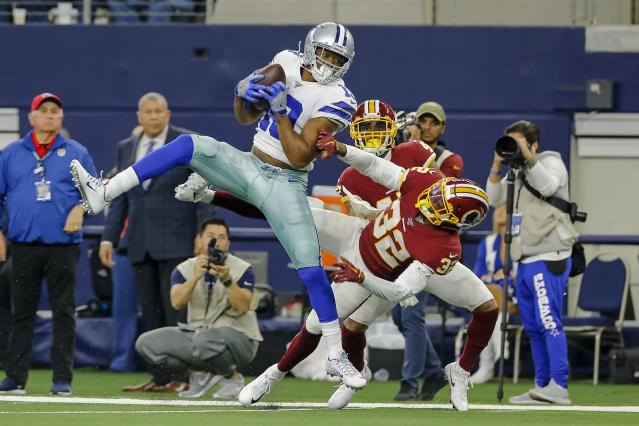 """The Cowboys are keeping <a class=""""link rapid-noclick-resp"""" href=""""/nfl/players/29369/"""" data-ylk=""""slk:Dak Prescott"""">Dak Prescott</a>, <a class=""""link rapid-noclick-resp"""" href=""""/nfl/players/29238/"""" data-ylk=""""slk:Ezekiel Elliott"""">Ezekiel Elliott</a> and <a class=""""link rapid-noclick-resp"""" href=""""/nfl/players/28392/"""" data-ylk=""""slk:Amari Cooper"""">Amari Cooper</a> for at least one more year. (Photo by Matthew Pearce/Icon Sportswire via Getty Images)"""