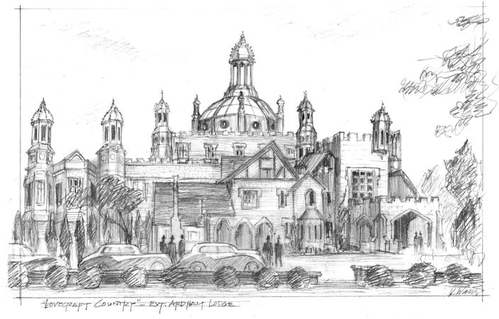 Ivanov's concept drawing for Tudor-style Ardham Lodge.
