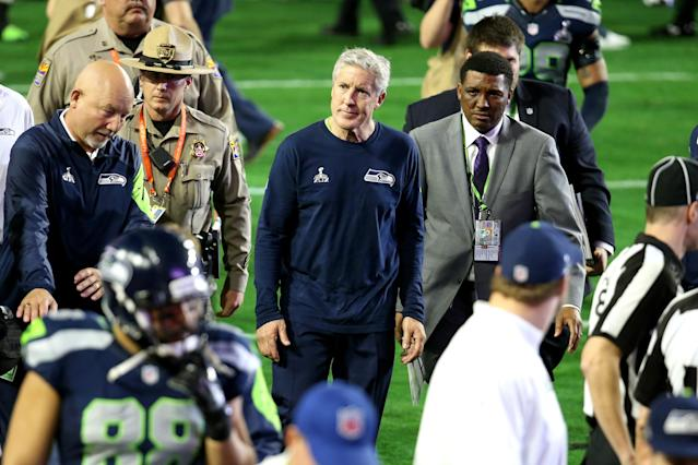 Pete Carroll walks off the field at Super Bowl XLIX where his Seahawks didn't hit the Beast Mode button. (Getty Images)