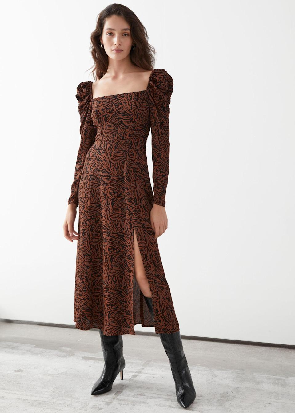 <p>This <span>&amp; Other Stories Satin Square Neck Midi Dress</span> ($52, originally $129) is so pretty and flattering.</p>