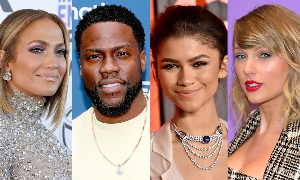 Jennifer Lopez, Kevin Hart, Zendaya and Taylor Swift pitched in on National Voter Registration Day. (Photo: Getty Images)