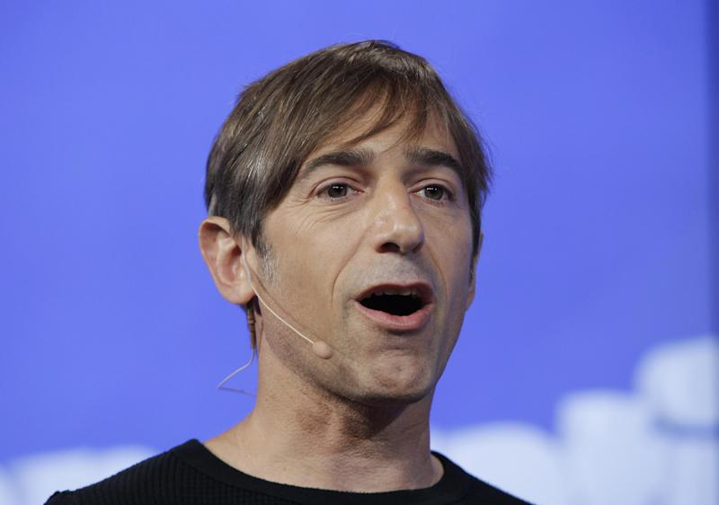 FILE- In this Tuesday, June 26, 2012, file photo, Zynga CEO Mark Pincus speaks during the announcement of new games at Zynga headquarters in San Francisco. Zynga's stock is tanking after the online game maker reported a loss in the second quarter on Wednesday, July 25, 2012, with adjusted earnings and revenue below Wall Street's already-low expectations. (AP Photo/Paul Sakuma, File)