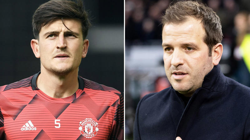 Rafael van der Vaart (pictured right) during commentary and Manchester United's Harry Maguire (pictured left) during training.