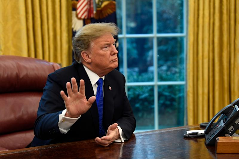 President Donald Trump speaks as he meets with Chinese Vice Premier Liu He in the Oval Office of the White House in Washington, Friday, Feb. 22, 2019. (AP Photo/Susan Walsh)