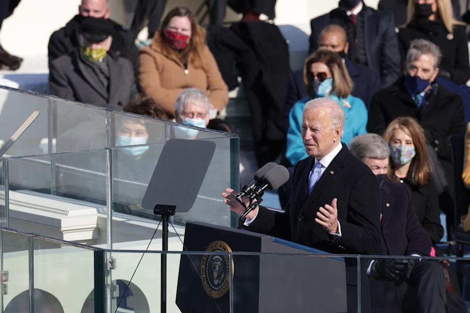 WASHINGTON, DC - JANUARY 20: U.S. President Joe Biden delivers his inaugural address on the West Front of the U.S. Capitol on January 20, 2021 in Washington, DC. During today's inauguration ceremony Joe Biden becomes the 46th president of the United States. (Photo by Alex Wong/Getty Images)