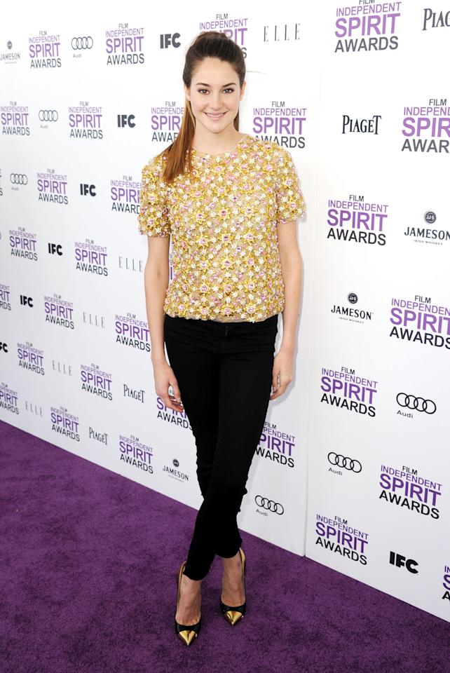 SANTA MONICA, CA - FEBRUARY 25:  Actress Shailene Woodley arrives at the 2012 Film Independent Spirit Awards on February 25, 2012 in Santa Monica, California.  (Photo by Kevin Winter/Getty Images)