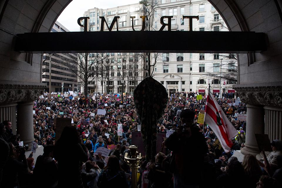 Demonstrators gather outside the Trump Hotel International in Washington in January 2017 to protest an executive order barring the citizens of Muslim-majority countries Iraq, Syria, Iran, Sudan, Libya, Somalia and Yemen from traveling to the USA.