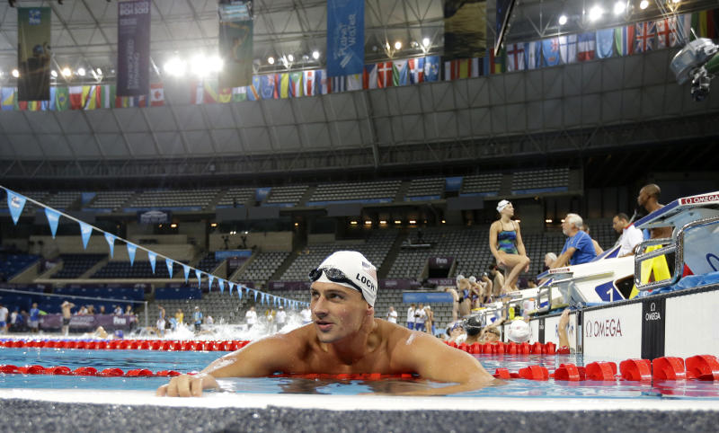 Ryan Lochte of the US rests during a training session ahead of the FINA Swimming World Championships in Barcelona, Spain, Saturday, July 27, 2013. (AP Photo/David J. Phillip)