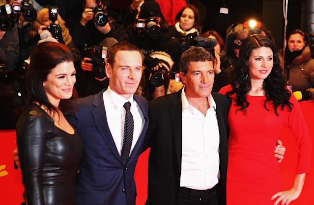 """BERLIN, GERMANY - FEBRUARY 15: Actors Natascha Berg, Antonio Banderas, Gina Carano and Michael Fassbender attend the """"Haywire"""" Premiere during day seven of the 62nd Berlin International Film Festival at the Berlinale Palast on February 15, 2012 in Berlin, Germany. (Photo by Christine Pettinger/Getty Images)"""