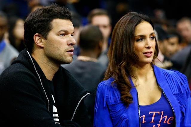 LONDON, ENGLAND - JANUARY 14: Former Chelsea footballer Michael Ballack and girlfriend Natacha Tannous attend the 2016 NBA Global Games London match between Toronto Raptors and Orlando Magic at The O2 Arena on January 14, 2016 in London, England. (Photo by Clive Rose/Getty Images)