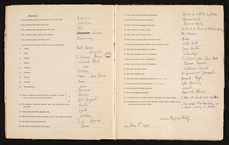 Virginia Woolf answered all 39 questions in her distinctive purple ink (Dominic Winter Auctioneers/PA).