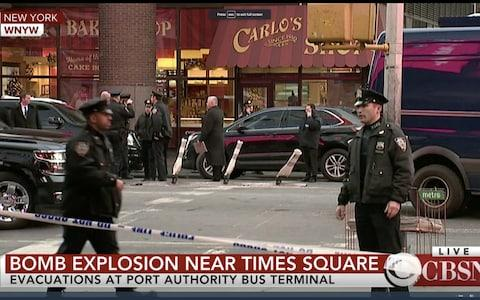 A still from a WNYW video showing police in Manhattan following reports of an explosion