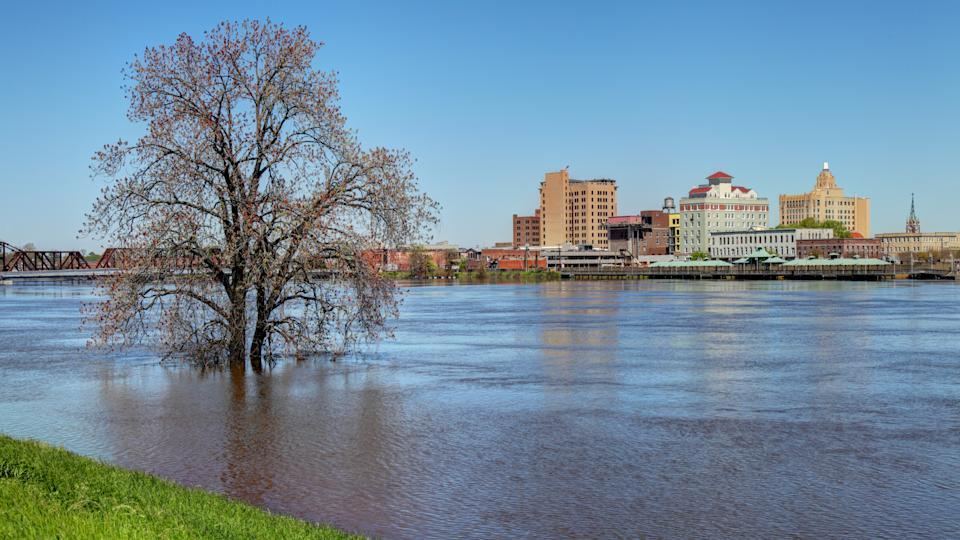 Flooded Ouachita River along the banks of downtown Monroe.