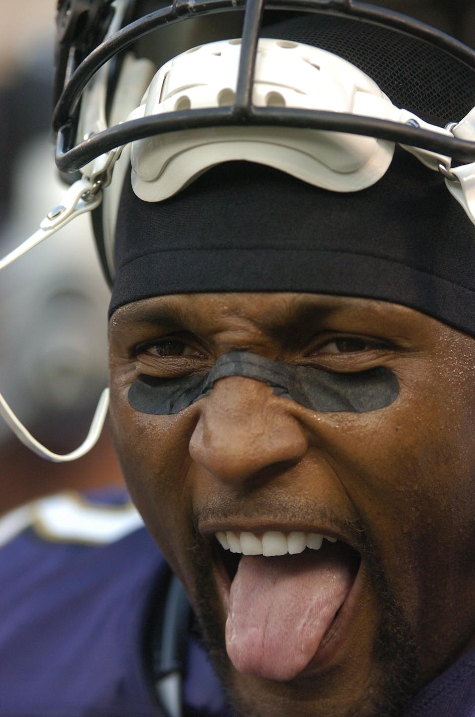 BALTIMORE - AUGUST 13: Ray Lewis #52 of the Baltimore Ravens waits to get into the game against the Philadelphia Eagles on August 13, 2007 at M&T Bank Stadium in Baltimore, Maryland. (Photo by G Fiume/Getty Images)