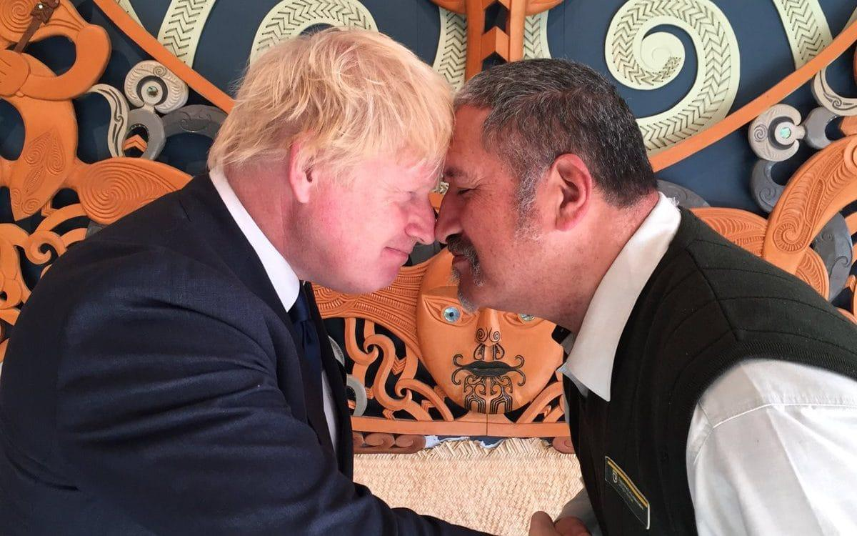 "Boris Johnson joked on his visit to New Zealand on Monday that a traditional Maori greeting could be misinterpreted as a ""Glasgow kiss"". The Foreign Secretary is visiting the South Pacific nation for two days as Britain looks to strengthen its ties with its former colony amid a broader reshaping of Britain's global relationships as it prepares to leave the European Union. Topics on the agenda include trade, foreign policy and international security. Kia Ora ���� ! Welcomed to #Kaikoura by Maori elder Brett on my first visit to one of Britain's very closest partners pic.twitter.com/vnbEiEXsSB— Boris Johnson (@BorisJohnson) July 24, 2017 He visited the South Island tourist town of Kaikoura, which was struck by a magnitude-7.8 earthquake in November that killed two people. Boris Johnson receives a Maori greeting called a hongi Credit: Boris Johnson/Twitter Mr Johnson thanked townsfolk for looking after tourists, including 200 Britons, who were stranded in the town after the quake and for teaching him a Maori greeting called a hongi, in which people press noses together. Boris Johnson eats crayfish with New Zealand Civil Defence Minister Nathan Guy Credit: Reuters ""I think it's a beautiful form of introduction, though it might be misinterpreted in a pub in Glasgow,"" Mr Johnson joked, in a reference to a ""Glasgow kiss"", or head butt. Mr Johnson said it was his first visit to New Zealand. ""This is the most mind-blowingly, mind-numbingly beautiful country that I have ever seen,"" he said, adding it was the only landscape he thinks could do justice to the imagination of J.R.R. Tolkien, author of ""The Lord of the Rings"" and ""The Hobbit,"" which were filmed in New Zealand. Mr Johnson is due to travel to Australia on Tuesday."