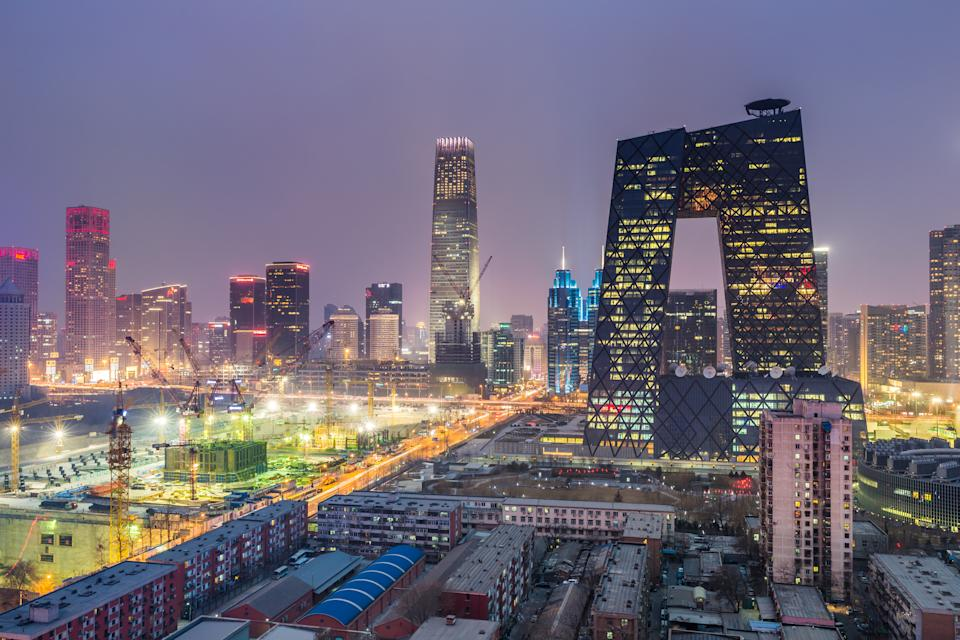 High angle view of the landmarks and skyscrapers in the central business district of Beijing.