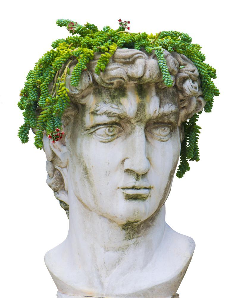 Taking the Mic: a replica of Michelangelo's David with extra plants.