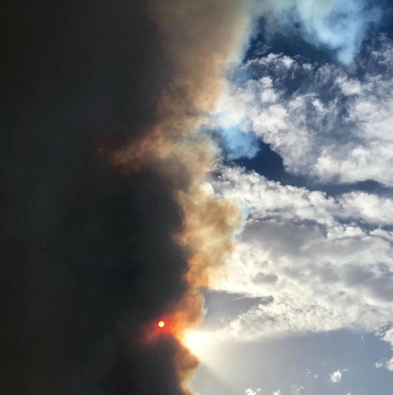 Dark smoke fills the sky at Holsworthy. Source: Instagram/Shiresmith