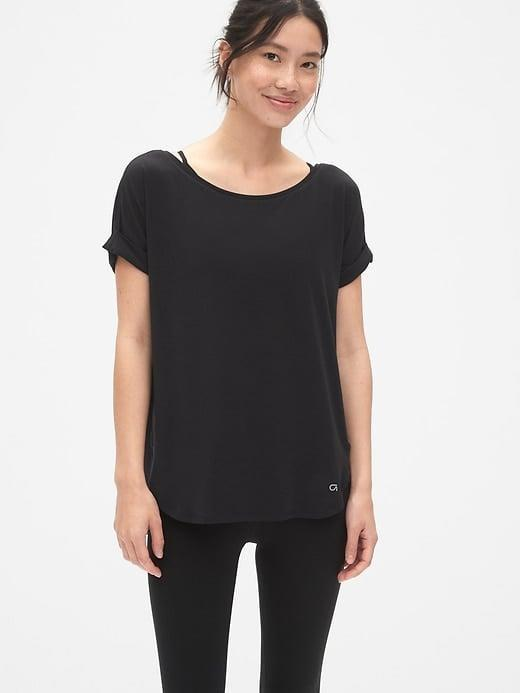 <p>This airy <span>Gap GapFit Breathe Roll Sleeve T-Shirt</span> ($31, originally $35) fits any workout routine, even if it's just cleaning house.</p>