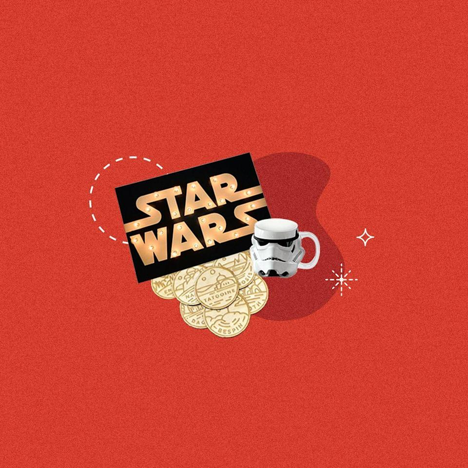"""<p>If your gifts are lacking in force, we've got the perfect solution: some Jedi-approved gifts. From coffee mugs to slow cookers to Princess Leia Minnie ears and Darth Vader pint glasses, these Star Wars food- and drink-themed gifts will make your favorite Jedi-obsessed friend absolutely lose their mind. We've found the coolest <em>Star Wars </em>presents for the people who also love to eat...and drink...and make Millennium Falcon-shaped waffles before rewatching the latest installment. The best kind of people, really.</p><p>Need more <em>Star Wars</em> content? We get it. Try making this <a href=""""https://www.delish.com/cooking/recipe-ideas/recipes/a50714/star-wars-death-star-cheese-ball-recipe/"""" rel=""""nofollow noopener"""" target=""""_blank"""" data-ylk=""""slk:Death Star cheeseball"""" class=""""link rapid-noclick-resp"""">Death Star cheeseball</a> while you're stuck at home—then plan your next trip to <a href=""""https://www.delish.com/food/g29111113/best-food-disney-world-star-wars-galaxys-edge/"""" rel=""""nofollow noopener"""" target=""""_blank"""" data-ylk=""""slk:Star Wars: Galaxy's Edge"""" class=""""link rapid-noclick-resp"""">Star Wars: Galaxy's Edge</a>.</p>"""