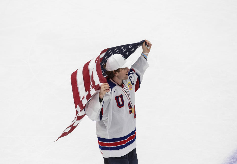 United States' Cam York celebrates the team's win over Canada in the title game in the IIHF World Junior Hockey Championship, Tuesday, Jan. 5, 2021, in Edmonton, Alberta. (Jason Franson/The Canadian Press via AP)