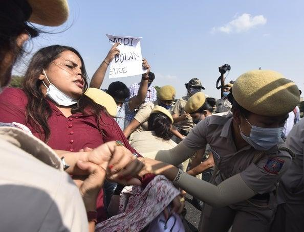 Congress Party workers protest in Uttar Pradesh over the Hathras gang rape incident (Hindustan Times via Getty Images)