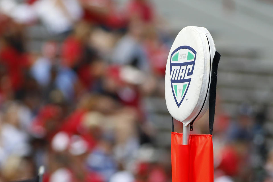 A MAC logo on the first-down marker during a game between the Buffalo Bulls and the Miami of Ohio RedHawks on Sept. 28, 2019. (Justin Casterline/Getty Images)