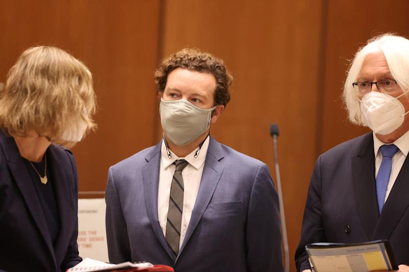 Danny Masterson stands with his lawyers on Sept. 18, 2020 as he is arraigned on three rape charges
