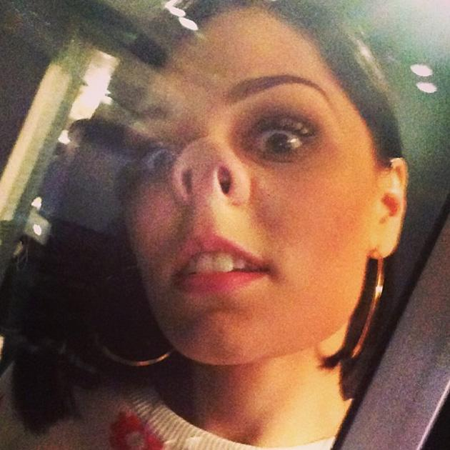 """Celebrity Twitpics: Jessie J was in a playful mood when she posed for this Twitpic. She posted the photo alongside the caption: """"made me do it! I'm in one of those moods... I'm 25 soon but I just LOVE being silly."""" Copyright [Jessie J]"""
