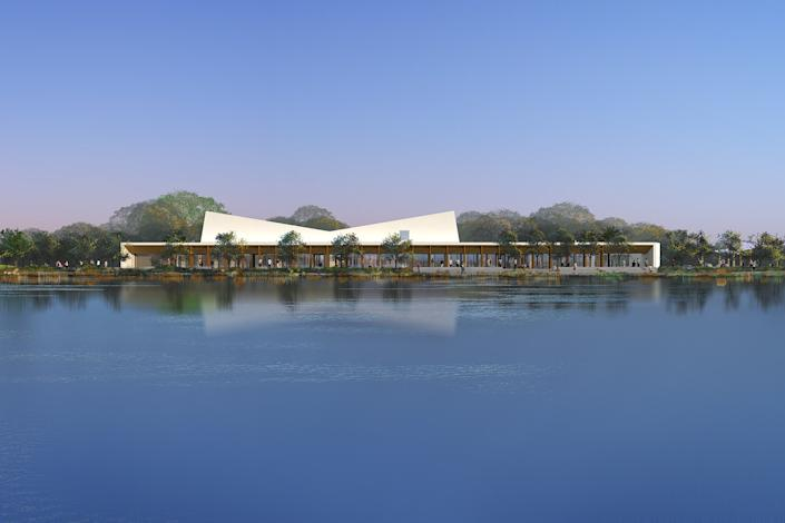 """A rendering of the Earvin Magic Johnson Park and Event Center in Willowbrook by Paul Murdoch Architects. A challenge for architecture as cities reopen will be how to keep public spaces from becoming sites of transmission. <span class=""""copyright"""">(Paul Murdoch Architects and bioLinia)</span>"""